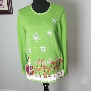 Quaker factory christmas Santa reindeer sweater